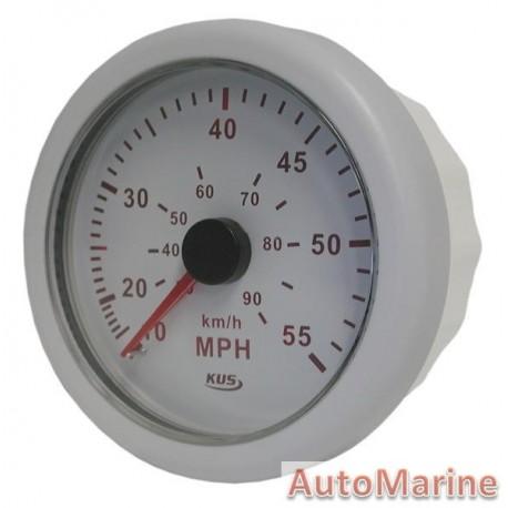 Speedometer 55mph / 90kmh - 85mm - White