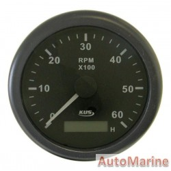 Tachometer 6000rpm - 85mm - Black