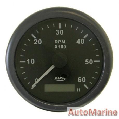Tachometer 6000rpm - 85mm - Black