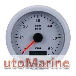 Tachometer 4000rpm - 85mm - White