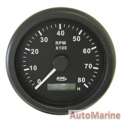 Tachometer 8000rpm - 85mm - Black