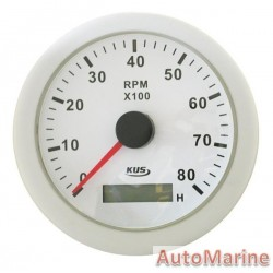 Tachometer 8000rpm - 85mm - White