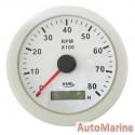 Tachometer 8000rpm - 85mm - White