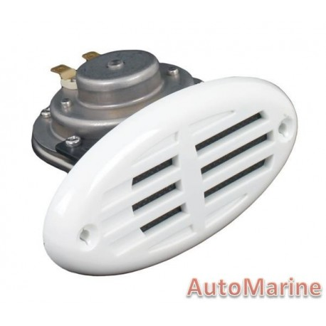 Marine Hooter 12V with White Grille - Stainless Steel