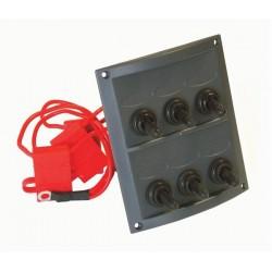 Switch Panel - 6 Switch - Splash Proof - Black