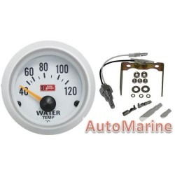 52mm Silver / White Water Temperature Gauge