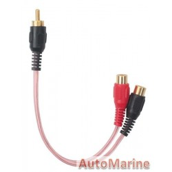 RCA Cable Clear Pink 2 Female 1 Male