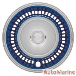 "15"" Chrome / Blue Wheel Cover Set"