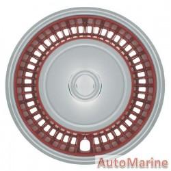 "14"" Chrome / Red Wheel Cover Set"