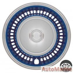 """14"""" Chrome / Blue Wheel Cover Set"""