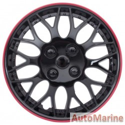 "15"" Ice Black / Red Wheel Cover Set"