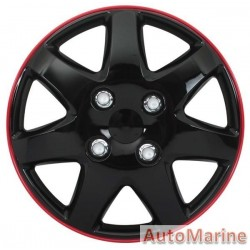 "14"" Ice Black / Red Wheel Cover Set"