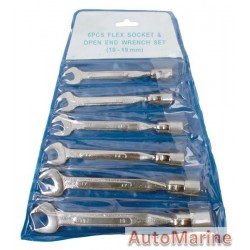 Swivel Socket and Spanner Set - 6 Piece