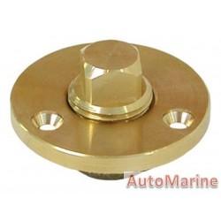 Brass Drain Plug Plate - Garboard