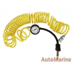 Extra Length Compressor Hose and Gauge with Accessories