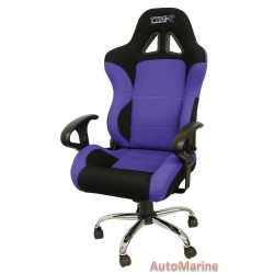 Racing Office Chair with Arm Rests - Blue