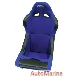 Non Reclining Racing Bucket Seat with Rails - Blue