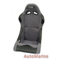 Non Reclining Racing Bucket Seat with Rails - Grey