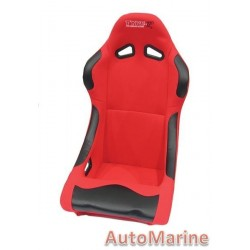 Non Reclining Racing Bucket Seat with Rails - Red