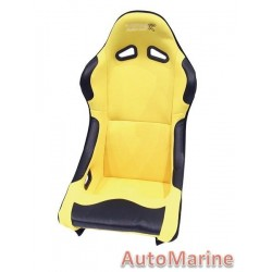 Non Reclining Racing Bucket Seat with Rails - Yellow