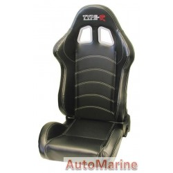 Reclining Racing Seat - Black with White Stitching
