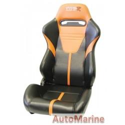 Reclining Racing Car Seat PVC - Orange / Black