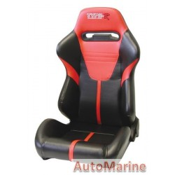 Reclining Racing Car Seat PVC - Red / Black
