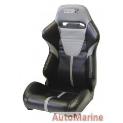 Reclining Racing Car Seat PVC - Grey / Black