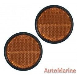 Round Amber Reflector - 60mm - Set of 2