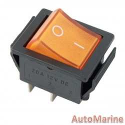 Rocker Switch - Amber - Illuminated
