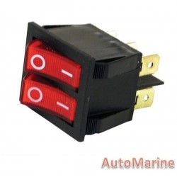 Rocker Switch - Double - Red