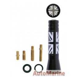 Aerial Mast - 6cm - with Black UK Flag
