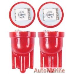LED Wedge Red Globe Set (501) (12V) - Amber