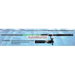 6ft 2 Piece Fishing Rod Green / Gloss Black