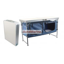 Fold Up Table with Cupboard - Aluminium