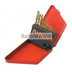 Drill Bit Set (Titanium) in Metal Box - 13 Piece