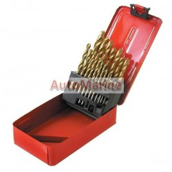 Drill Bit Set (Titanium) in Metal Box - 19 Piece