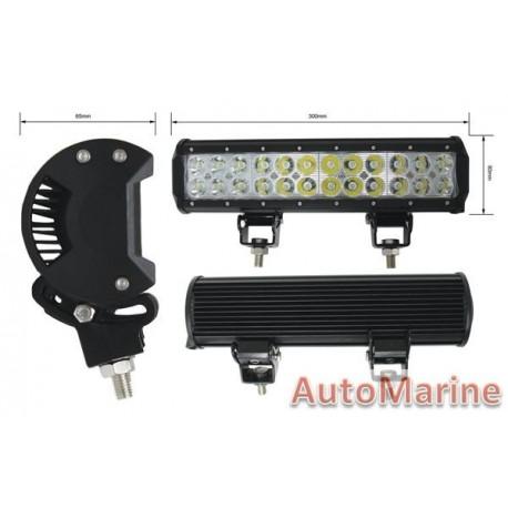 LED Spot Lamp Bar - Double Row - 72 Watt - 305mm x 73mm