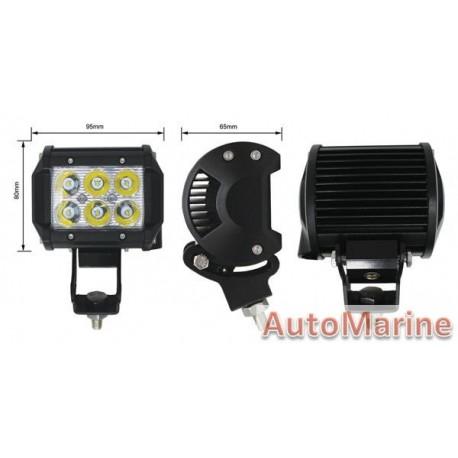 LED Spot Lamp Bar - Double Row - 18 Watt - 95mm x 80mm