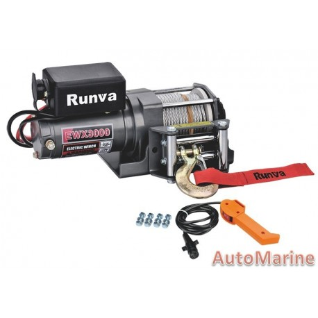 Runva Electric Winch - 12 Volt - 3000lb (1360kg) - With Solenoid Pack